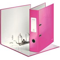 Папка-регистратор Leitz WOW с механизмом 180°, А4 80мм, розовый металлик