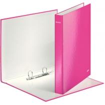 Папка-регистратор Leitz WOW, 2 кольца, 25мм, А4+, розовый металлик
