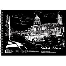 Альбом для рисования на спирали, 30 листов, черная бумага, A5
