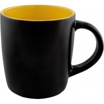 Чашка керамическая TEONA Optima promo 350мл, черно-желтая