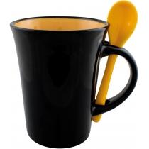 Чашка керамическая с ложкой DORIS Optima promo 300мл, черно-оранжевая