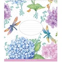 Тетрадь 12 листов, наклонная линия Цветы и бабочки