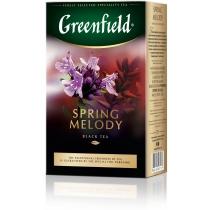Чай Greenfield Spring Melody 100 г чорний байховий, лист чорної смородини, чебрець, м'ята, персик