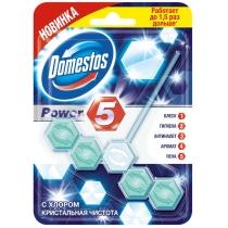 Блок для унитаза Domestos Пауэр 5 с хлором Кристальная чистота 55 г