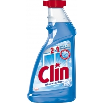Средство для чистки стекла и других гладких поверхностей Clin, Голубой 500 мл, запаска