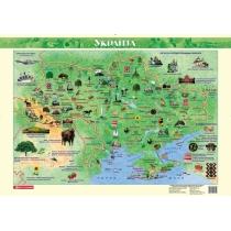 Покрытие настольное. Карта Украины. Иллюстрированная для детей 67х47 см