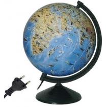 Глобус физический с животными лакированный с подсветкой, пластиковая подставка