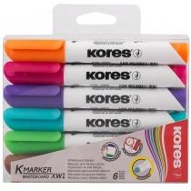 Набір маркерів для білих дошок KORES 1-3 мм, 6 кольорів