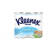 Туалетная бумага 3 слоя Kleenex Natural Care белая 4 рулона