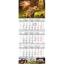 Календарь квартальный настенный 2019 (свинки ассорти)