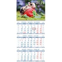 Календарь эконом квартальный настенный 2019 (ассорти)