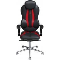 Крісло GRAND екошкіра чорне з червоними вставками