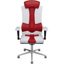 Крісло ELEGANCE екошкіра біле з червоними вставками