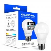 Лампа светодиодная GLOBAL A60 8W 4100K 220V E27