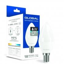 Лампа светодиодная GLOBAL C37 CL-F 6W 4100K 220V E14
