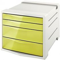 Настільний короб пластиковий для документів з 4 шухлядами Esselte Colour'ice, колір жовтий