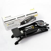 Помпа ножная SOLAR, 55мм x120мм, одноцилиндровая с манометром и дополнительными адаптером