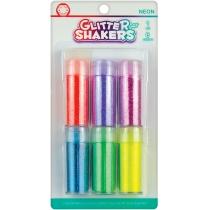 "Набор блесток для декорирования ""Neon Glitter Shaker"", 6 цв. по 9г с клеем 6 мл"