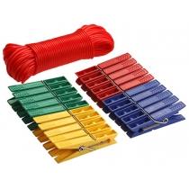 Прищіпки 20 шт + шнур 20 м 72 мм колір асорті