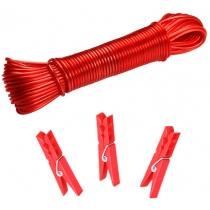 Прищіпки 50 шт + шнур 20 м колір асорті