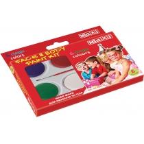 Набір фарб для обличчя та тіла, 6 кольорів з пензликом