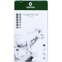 Набор чернографитных карандашей Optima GRAPHITE SET 12 шт. разной твердости (5Н-5В)