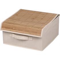 Коробка для хранения вещей с бамбуковой крышкой бежевая 30 х 30 х 16 см Мой Дом