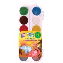 Акварель медова Fresh Ideas, 12 кольорів, б/пензлика, пластик