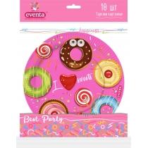 Тарелки бумажные EVENTA D 23 см с рисунком Пончики, 10 шт
