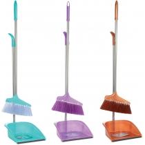 Набор для уборки Economix cleaning: совок + щетка с длинной хромированной ручкой, 25х85 см