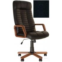 Кресло, ATLANT EX Tilt, Кожа LUX, черный, с дерев. наклад. и подлокот.
