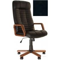 Кресло, ATLANT EX Tilt, Кожа SPLIT, черный, с дерев. наклад. и подлокот.