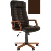 Кресло, ATLANT EX Tilt, Кожа LUX, коричневый, с дерев. наклад. и подлокот.