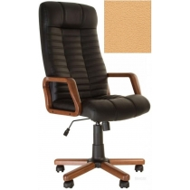 Кресло, ATLANT EX Tilt, Кожа SPLIT, бежевый, с дерев. наклад. и подлокот.