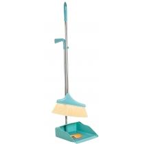 Набор для уборки Optima cleaning: совок + щетка с длинной хромированной ручкой, 26х90 см (бирюзовый)