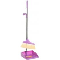 Набор для уборки Optima cleaning: совок + щетка с длинной хромированной ручкой, 26х90 см (розовый)