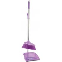 Набор для уборки Economix cleaning: совок + щетка хромированной ручкой, 25х85 см (фиолетовый)