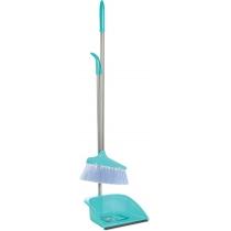 Набор для уборки Economix cleaning: совок + щетка с хромированной ручкой, 25х85 см (бирюзовый)