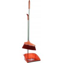 Набор для уборки Economix cleaning: совок + щетка с хромированной ручкой, 25х85 см (коричневый)