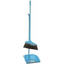 Набор для уборки: совок со щеткой с  металлической ручкой (синий)