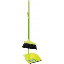 Набор для уборки: совок со щеткой с  металлической ручкой (салатовый)