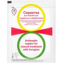 Салфетки для обр. ран кровоостанавливающие с фурагином стерильная, 6х10см, №2, трикотаж