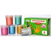 Краски пальчиковые, 6 перламутровых цветов