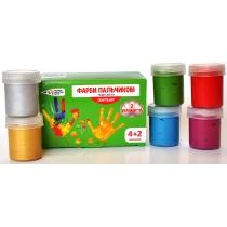 Краски пальчиковые 4 классических цвета + 2 перламутровых