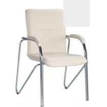 Кресло SAMBA (S) (BOX-2) V-1, Искусственная кожа, белый, Хром база с мягк наклад