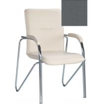 Кресло SAMBA (S) (BOX-2) V-2, Искусственная кожа, серый, Хром база с мягк наклад
