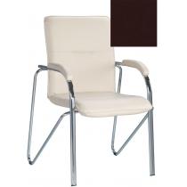 Кресло SAMBA (S) (BOX-2) V-3, Искусственная кожа, коричневый, Хром база с мягк наклад