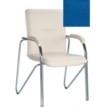 Кресло SAMBA (S) (BOX-2) V-15, Искусственная кожа, синий, Хром база с мягк наклад
