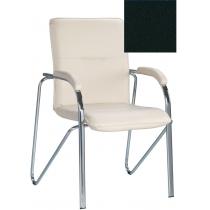Кресло SAMBA (S) (BOX-2) V-4, Искусственная кожа, черный, Хром база с мягк наклад
