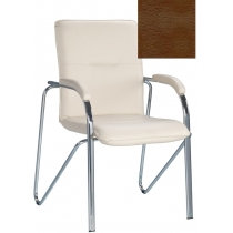 Кресло SAMBA (S) (BOX-2) V-19, Искусственная кожа, коричневый, Хром база с мягк наклад